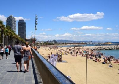barcelona beach on scooter